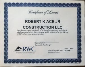 RWC License Certification for Robert K. Ace Jr. Construction