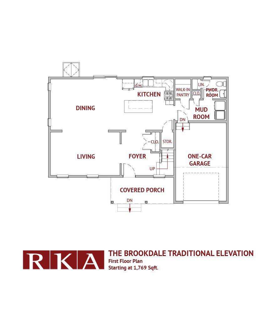 The Brookdale Home Design 1st FLoor Plan