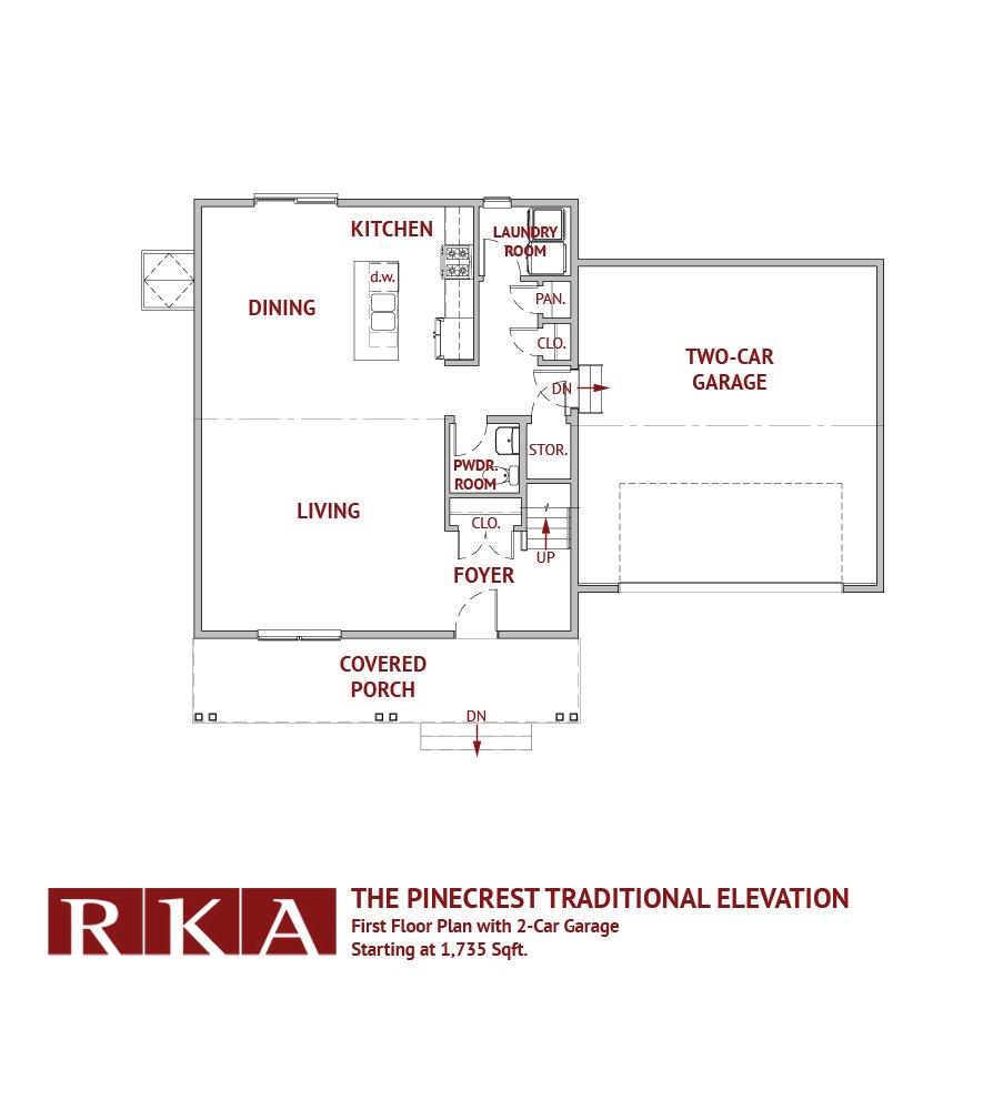 The Pinecrest Home Design 1st Floor Plan