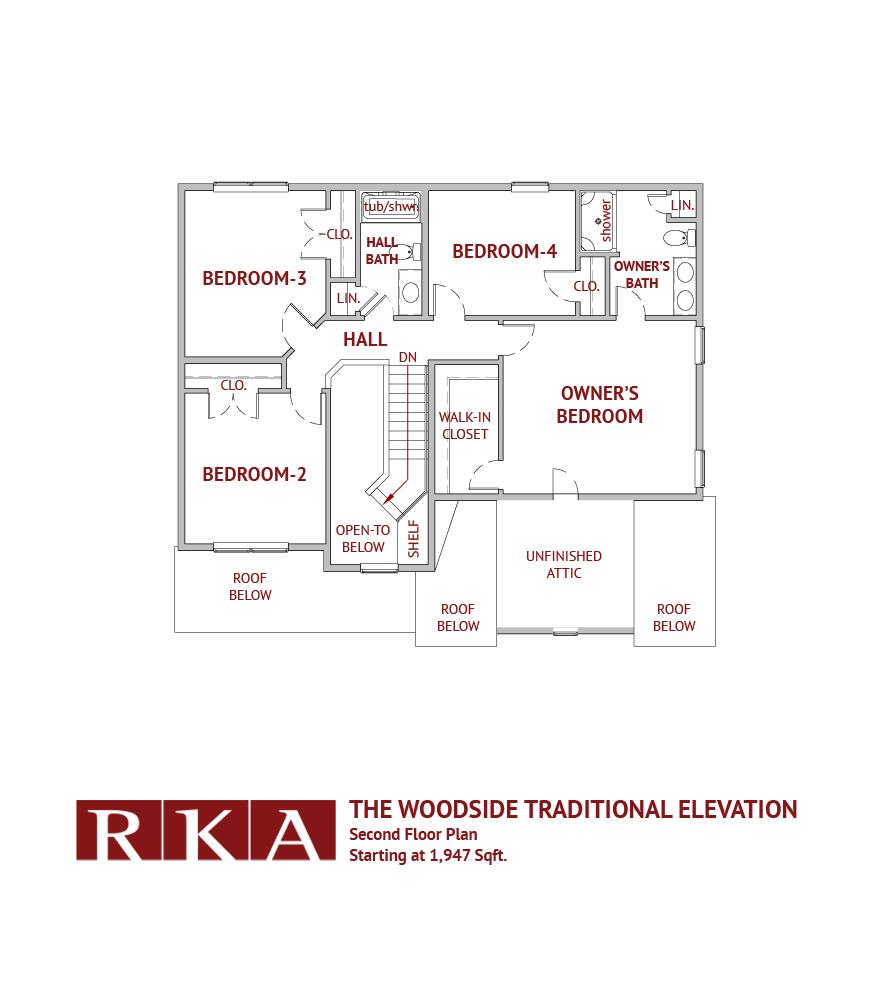 The Woodside I 2nd Floor Plan