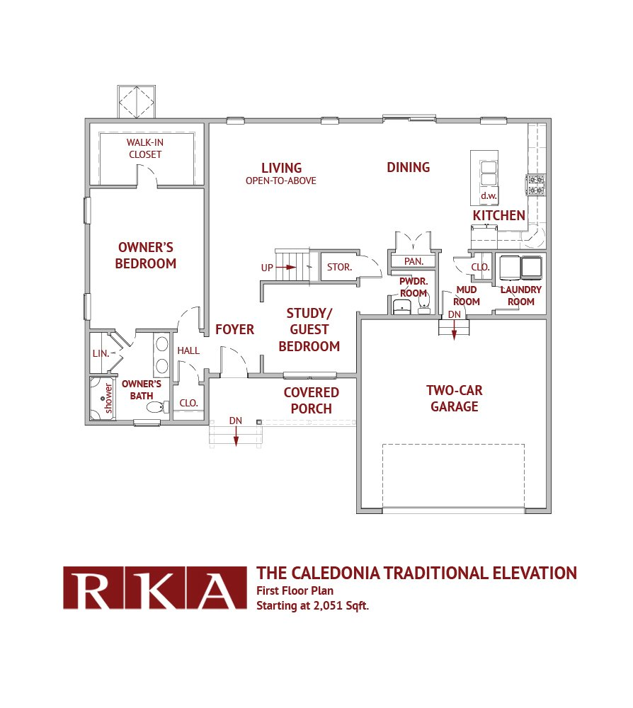 The Calcedonia Traditional Elevation 1st Floor Plan