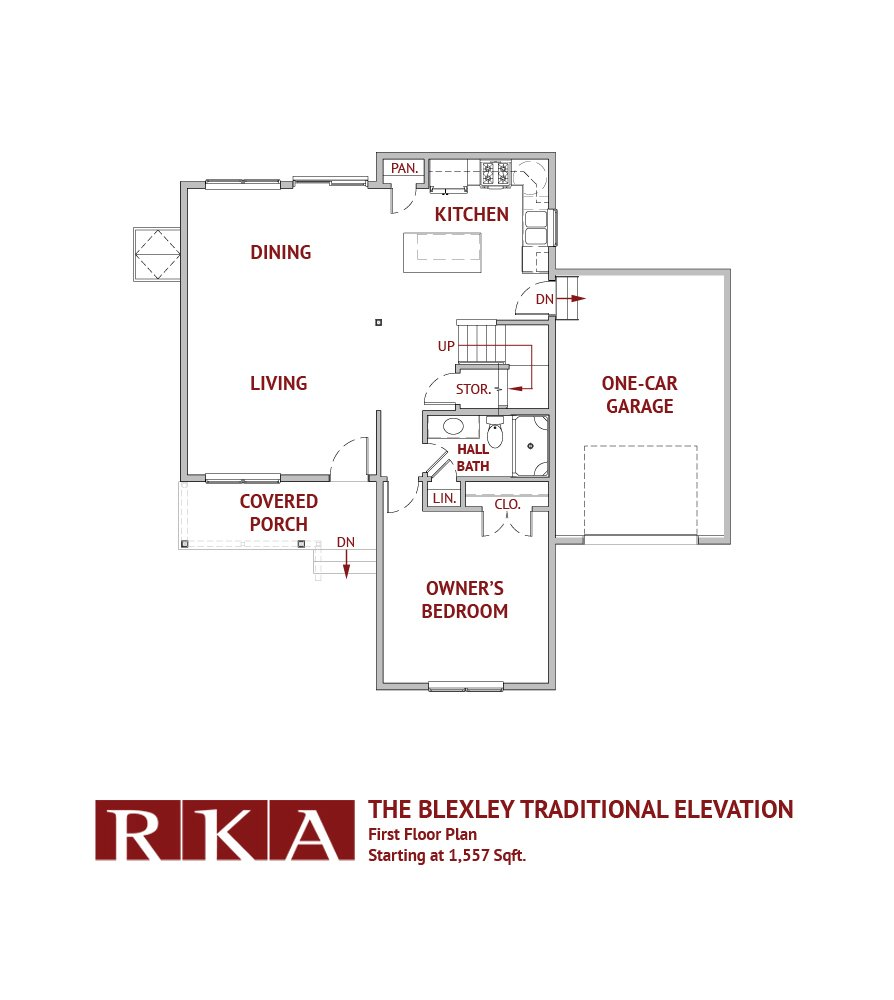 The Blexley Traditional Elevation 1st Floor Plan