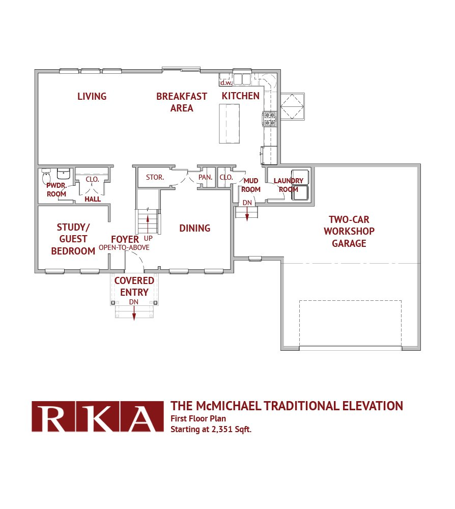 The McMichael Traditional Elevation 1st Floor Plan